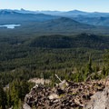 The trail to the summit is well-marked with cairns.- Diamond Peak, Marie + Rockpile Lakes
