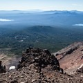 Summit and Crescent Lakes. The cinder cone near Crescent Lake is Odell Butte (7,032').- Diamond Peak, Marie + Rockpile Lakes