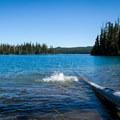 A clarifying plunge into Summit Lake after a climb up Diamond Peak.- Diamond Peak, Marie + Rockpile Lakes