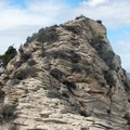 The upper ridge is a mixture of solid and crumbling rock.- North Guardian Angel Climb