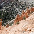 "A view of the many rock ""hats"" at the Hat Shop.- Under-the-Rim Trail to Hat Point"