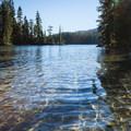 Summit Lake's clear water.- Summit Lake