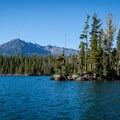Diamond Peak (8,743') looming over Summit Lake.- Summit Lake