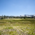 View of Three Creek Meadow and Tam McArthur Rim (7,732') in the distance.- Three Creek Meadow Campground + Horse Camp