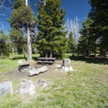 Typical campsite at Three Creek Meadow Campground.- Three Creek Meadow Campground + Horse Camp