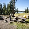 Typical campsite at Three Creek Lake Campground.- Three Creek Lake Campground