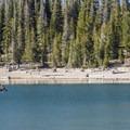 Fly fisher out on Three Creek Lake.- Three Creek Lake