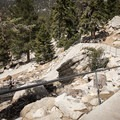 The path down to the hiking trails is a series of switchbacks.- Round Valley Loop
