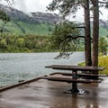 The Forest Service day use area has picnic tables.- Haviland Lake