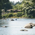 Floaters heading down Snoqualmie River toward Fall City Park.- Snoqualmie River, Plum Boat Launch