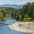 View of Snoqualmie River from Fall City.- Snoqualmie River Float