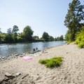 Sandy beach at Plum Boat Launch.- Snoqualmie River Float