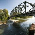Highway 203 bridge over Skykomish River at Al Borlin Park.- Skykomish River, Al Borlin Park