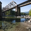 Swimming hole at Big Eddy Park and River Access under the BNSF railroad bridge.- Skykomish River, Big Eddy Park