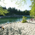 Sandy beach at Big Eddy Park on the Skykomish River.- Skykomish River, Big Eddy Park