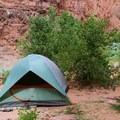 The campground is a quarter mile from Havasu Falls. - Havasu Falls Hike via Havasupai Trail