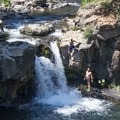 Plenty of jumping opportunities at Lower falls.- Lower Falls