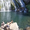Middle Falls offers a serene setting for a swimming hole.- Middle Falls