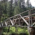 A bridge begins the Granite Lake Trail.- Granite Lake + Seven Up Pass