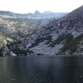 Granite Lake with Gibson Peak in the background.- Granite Lake + Seven Up Pass