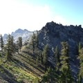 Looking at the pass from the south flank of Seven Up Peak. - Granite Lake + Seven Up Pass