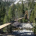 Suspension bridge at the JMT junction.- Rae Lakes Loop