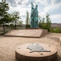 The Basque Monument sits alongside the trail.- Evans Canyon/Miner's Trail Loop
