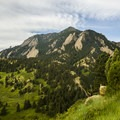 Bear Peak in the Flatiron Range, as viewed near the trailhead.- Bear Peak via Fern Canyon