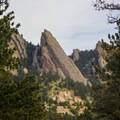 One of the many sharp spires of rock that give the Flatirons their name.- Bear Peak via Fern Canyon