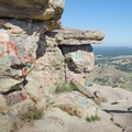 Sandstone formations that create the iconic table shape.- Table Rock