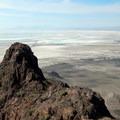 Volcano Peak and the Bonneville Salt Flats below.- Volcano Peak