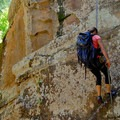 The second rappell is 40 vertical feet down to dry ground.- James Canyon
