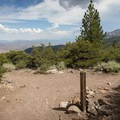 Intersection with Church's Pond Trail. Views extend from the Mount Rose Ski Area to Washoe Lake.- Jones Whites Creek Loop