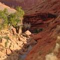 Approaching an impassable boulder jam.- Coyote Gulch