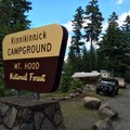 Camp host at the entrance.- Kinnikinnick Campground