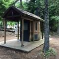 One of two vault toilents in Kinnikinnick Campground.- Kinnikinnick Campground