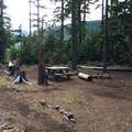 A typical site at Kinnikinnick Campground.- Kinnikinnick Campground