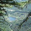 View of Venus Lake from Goat Mountain Trail.- Goat Mountain + Green River Loop