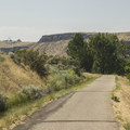A standard section of Greenbelt pathway with the Black Cliffs present in the background.- Boise River Greenbelt