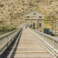 The Diversion Dam Pump House is off limits but visible from the path.- Boise River Greenbelt