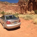 The view from the end of Grand Wash near the trailhead.- Cassidy Arch