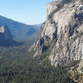 Westward view of Yosemite Valley and Cathedral Rocks (left).- Yosemite National Park