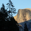 A half lit Half Dome seen from Lower Yosemite Falls.- Yosemite National Park