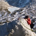 A climber tops out on Cathedral Peak.- Yosemite National Park