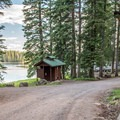 The facilities are typical of forest service campgrounds.- Ward Lake Campground