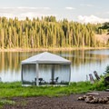Many campsites are right on the lake.- Ward Lake Campground