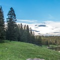 View of Ward Lake and the upper campground loop.- Ward Lake Campground
