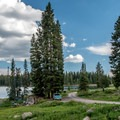 The lower loop of Ward Lake Campground is down at the lake level.- Ward Lake Campground