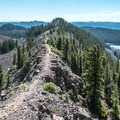 The Cottonwood Lakes to the north (right) of the crest.- Crags Crest Trail