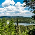 Eggleston Lake and the trailhead are a welcome sight.- Crags Crest Trail